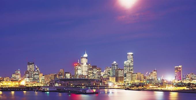 Melbourne - landscape night bay/harbour coastal city architecture